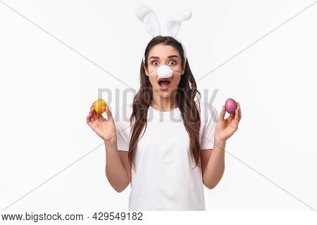 Easter Party Begins. Portrait Of Funny And Cute, Silly Young Caucasian Woman Celebrating Divine Day,