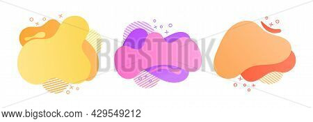 Set Of Orange, Pink, Yellow Geometric Abstract Elements On White Background. Dynamical Colored Forms