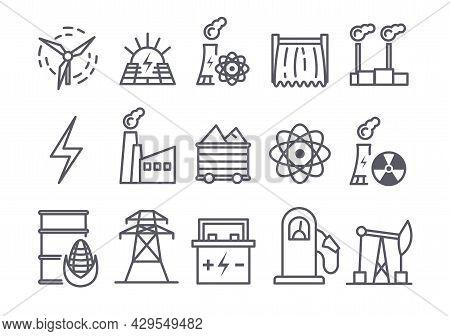 Set Of Power Plant Flat Line Icons On White Background. Energy Generation Station. Renewable Energy