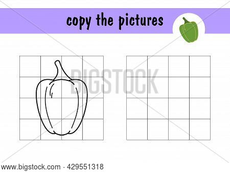 Mini-game On Paper - Repeat The Drawing Of Sweet Green Pepper, Example On The Right. Copy The Vegeta