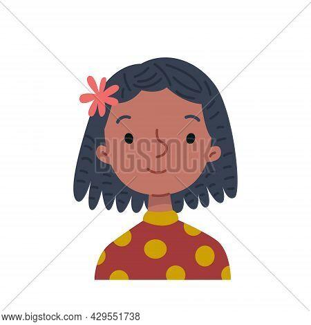 Avatar Black Woman Smiling. Cartoon Girl With Dreadlocks Hairstyle, Cheerful Portrait. Vector Illust