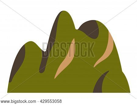 Top Mountain China Hill Peaks Vector Logo Silhouette Illustration. Outdoor Isolated Sun Landscape Ic