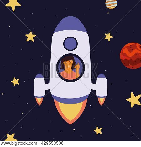 A Rocket In Space With An Astronaut Flies Near Mars And Jupiter.  Galaxy, Science, Universe, Educati