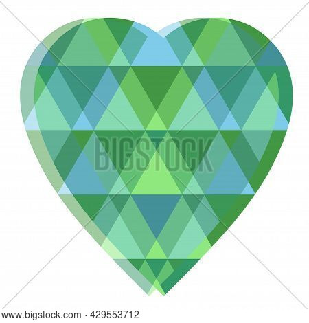 Green Emerald In Shape Of Heart, Edges Are Blue And Green. Vector Illustration For Gemstone Design.