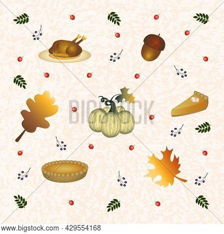 Flat Art Set With Thanksgiving Symbols: Pumpkin, Turkey, Pumpkin Pie And Fall Leaves. Autumn Season