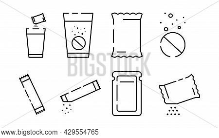 Set Of Sachet Line Icons On White Background. Icons Of Sugar Powder Packet, Soluble Pill, Effervesce