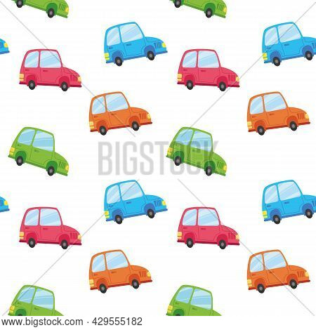 Seamless Pattern With Auto Transport. Cartoon Multi-colored Children S Cars On A White Background. V