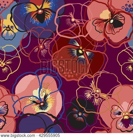 Vector Illustration Of Floral Seamless Pattern. Blue, Red, Yellow, Purple Flowers On A Purple Backgr