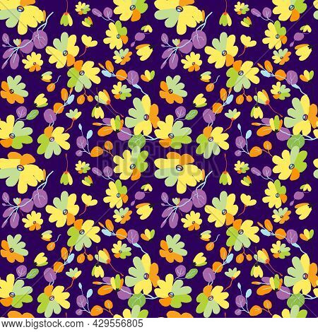 Cute Pattern In Small Flowers With Eucalyptus. Small Pink, Yellow, Orange Flowers. Exotic Purple Bac