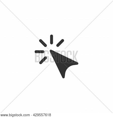 Cursor. Click Or Push The Button Pictogram. Tap Button. Isolated On White. Flat Cursor Icon. Vector