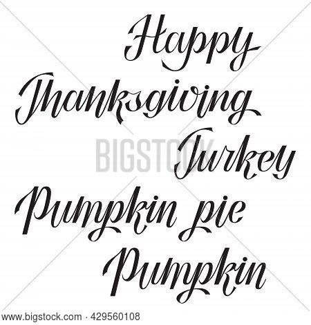 Thanksgiving Themed Hand Lettering Set. Autumn Season Greetings. Thanksgiving Card