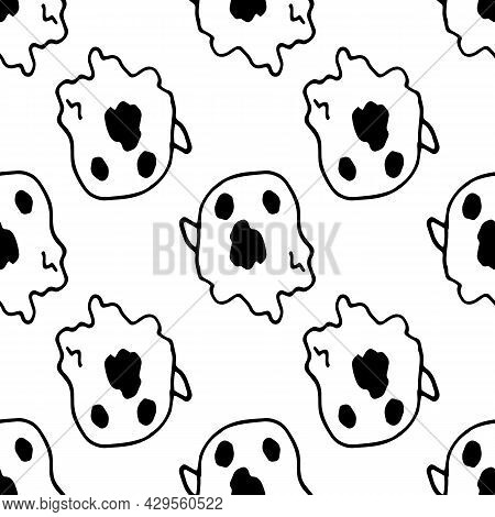 Vector Seamless Pattern From The Ghost.hand-drawn Cartoon Flying Ghost In The Style Of Doodles In Bl