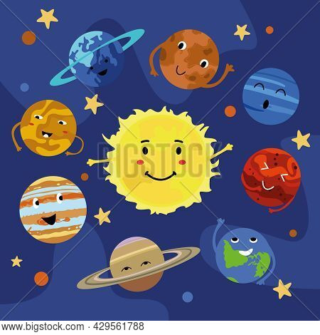Cartoon Planets Of The Solar System With Cute Faces In Space. Mercury, Venus, Earth, Mars, Jupiter,