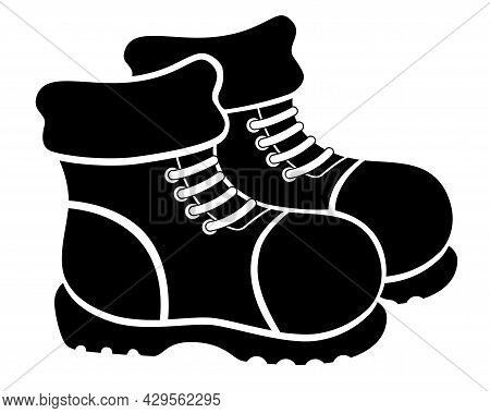 Pair Of Winter Warm Boots - Vector Black Silhouette For Logo Or Pictogram. Boots Are A Sign Or Symbo