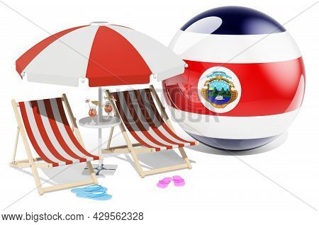 Costa Rican Resorts, Costa Rica Vacation, Tours, Travel Packages Concept. 3d Rendering Isolated On W