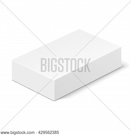 White Product Cardboard Package Box. Illustration Isolated On White Background. Mock Up Template Rea