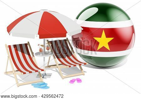 Surinamese Resorts, Suriname Vacation, Tours, Travel Packages Concept. 3d Rendering Isolated On Whit