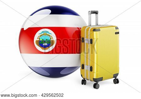 Suitcase With Costa Rican Flag. Costa Rica Travel Concept, 3d Rendering Isolated On White Background