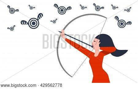 Business Woman, Freelancer, Office Worker Aims For A Moving Target Concept Illustration