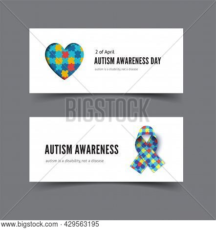 Autism Awareness Day Banner With Heart Of Colorful Puzzles And Awareness Ribbon