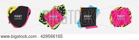 Collection Of Banner In Collage Style. Colorful Decorative Text Message Shapes. Set Of Abstract Shap