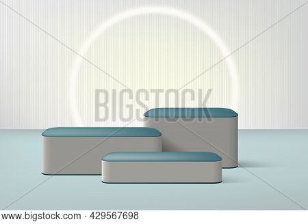 Product Presentation Podium Stage, Empty Pedestal, Blank Template Mockup. Vector