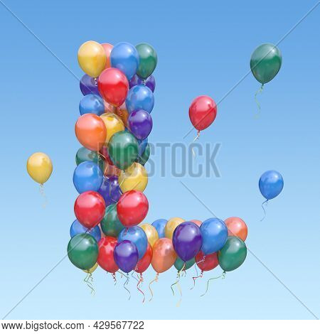 Letter L from balloons in the sky. Text letter for  holiday, birthday, celebration. 3d illustration