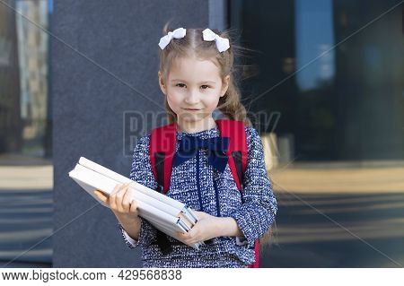 Cute Funny Smart Schoolgirl With Books. Back To School Kids. Happy Child, Clever Girl Go To First Gr
