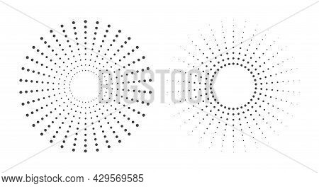 Halftone Vector Circle Frame Dots. Inward And Outward Gradient. Flat Vector Illustration Isolated On