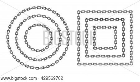 Black Round And Square Chain Set. Black Circle And Rectangular Chain Frame Various Sizes. Flat Vecto