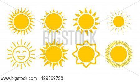 Yellow Sun Icon Set. Various Sun Shapes Symbols. Flat Vector Illustration Isolated On White Backgrou
