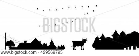 Rural Scene. Country Landscape Silhouette With A Flock Of Birds. Cow And Village Church. Flat Vector