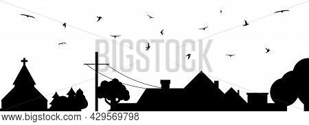 Rural Scene. Country Landscape Silhouette With A Flock Of Birds. Cottage And Telegraph Pole. Flat Ve
