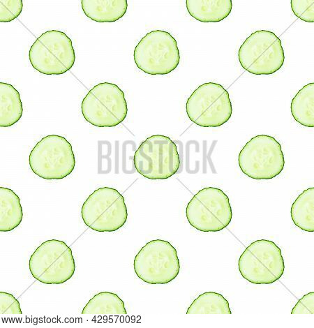 Fresh Cucumber Slices Or Cross-sections On White Background Seamless Pattern.