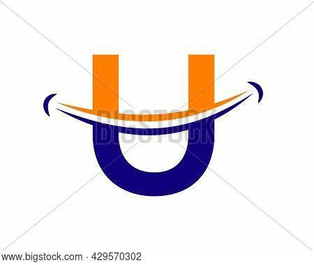 Smile Logo With U Letter Concept. Initial Letter U Happy Logo. Letter U Smile Logo Concept