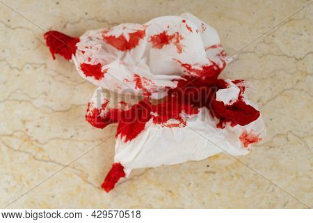 Bloody Tissue Close Up At Horizontal Composition