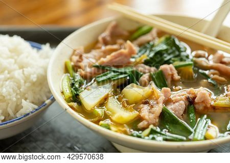 Angle View Fast Food Of Spicy Boiled Pork With Rice Horizontal Composition