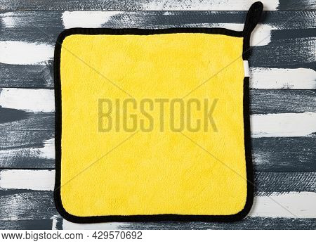 Yellow Fluffy Cloth For Cleaning Horizontal Composition