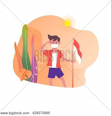 Flat Graphic Design Illustration Of Little Boy Wearing A Mask Celebrating Indonesia's Independence D