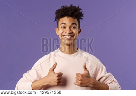 Close-up Portrait Of Enthusiastic Handsome Young Teenage Guy, College Student Recommend Awesome Cour