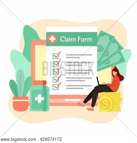 Woman Applying Health Insurance Claim Form In Laptop Computer With Medicine And Money In Flat Design