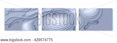 Set Of Topographic Map Flyers In Paper Cut Style. Collection Of 3d Abstract Banners With Cut Out Wav