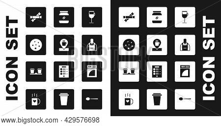 Set Irish Coffee, Location With Cup, Cookie Or Biscuit, Sugar Stick Packets, Barista, Coffee Jar Bot