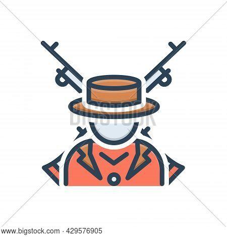Color Illustration Icon For Orion Terrorist Gun Extremist Rebel Radical Malcontent