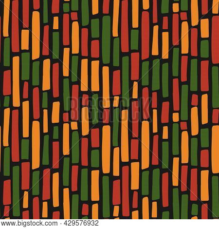 Abstract Kwanzaa, Black History Month, Juneteenth Seamless Pattern With Hand Drawn Vertical Lines In