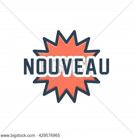 Color Illustration Icon For Nouveau Newest New Latest Recent Mordern