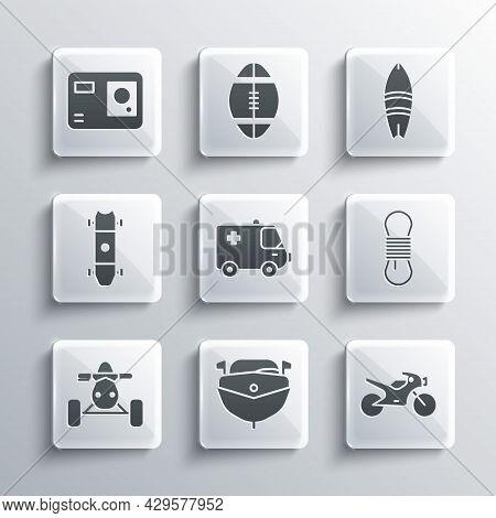 Set Speedboat, Motorcycle, Climber Rope, Ambulance And Emergency Car, Atv Motorcycle, Longboard Skat