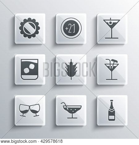 Set Cocktail, Champagne Bottle, Hop, Glass Of Cognac Or Brandy, Whiskey, Bottle Cap And Martini Glas