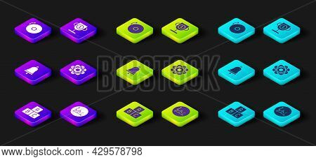 Set Abc Blocks, Graph, Schedule, Chart, Diagram, Ringing Bell, Atom, Award Cup And Alarm Icon. Vecto