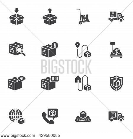 Parcel Delivery Vector Icons Set, Modern Solid Symbol Collection, Filled Style Pictogram Pack. Signs